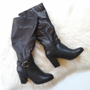 Rampage • Ursula tall heeled faux leather boots